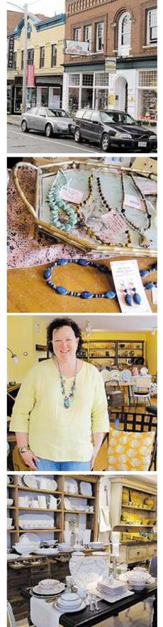 Top to bottom: Railroad Street in Great Barrington still has a '50s look. The Red Lion Inn's gift shop in Stockbridge has Berkshires items. Owner Suzannah Van Schaick at Second Home in Lenox. Mistral's in Great Barrington stocks French accents.
